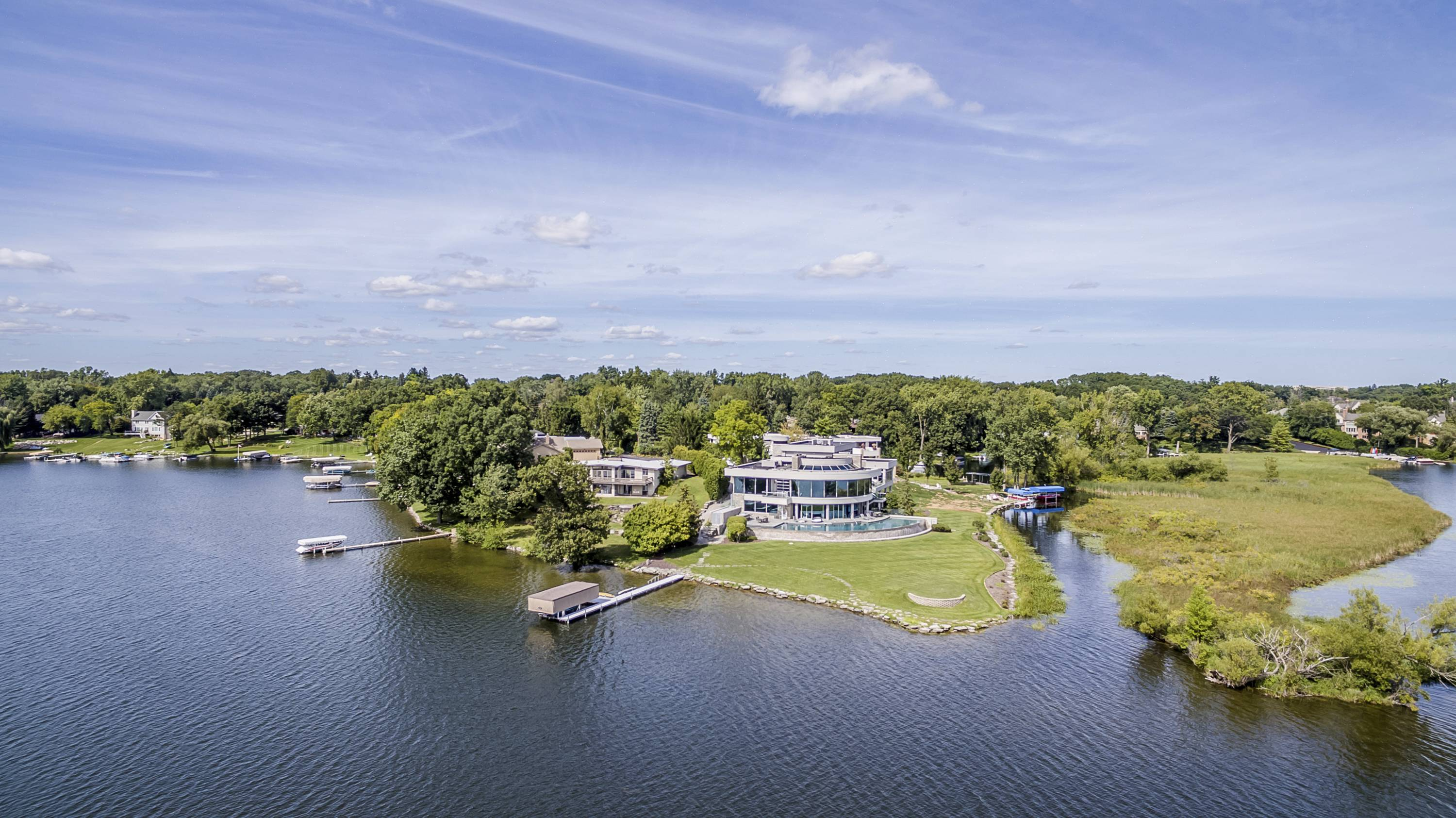 Matthew Stafford's Michigan Mansion, back exterior, lakefront