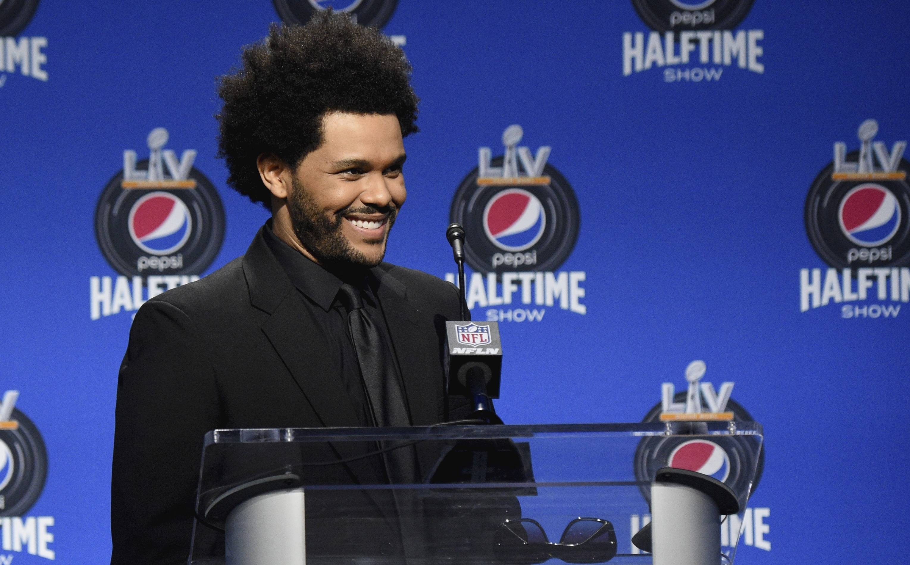 The Weeknd at a Super Bowl LV press conference
